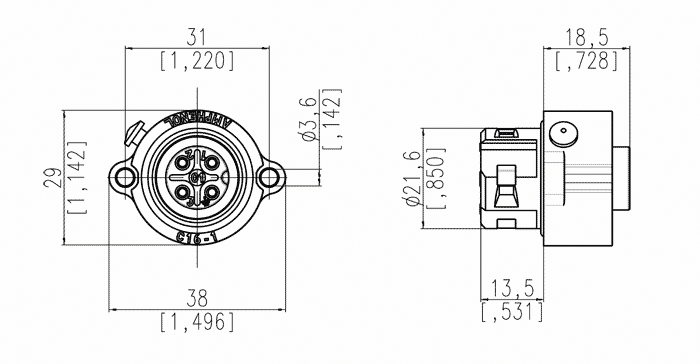 C01620g00310012 3 Pe Female Receptacle With Field