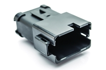 AT04-12PA-MMBLK 12-Way Receptacle, Male, A Position Key, Extended Shroud, Enhanced A Key , End Cap and Reduced Diameter Seal (E-Seal), Black. Compatible to PN's #DT04-12PA-BE04, DT04-12PA-CE03, 934446111