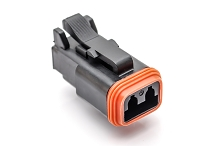 AT06-2S-BLK, 2-Way Plug, Female, Enhanced Seal Retention, Black. Compatible to part # DT06-2S-P012