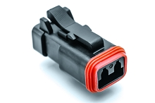 AT06-2S-EC01BLK  2-Way Plug, Female Connector with End Cap, Black. Comparable to parts #DT06-2S-E005, 934451201