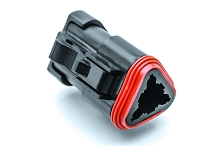 AT06-3S-EC01BLK  3-Way Plug, Female Connector with End Cap, Black. Comparable to parts #DT06-3S-E005, 934452201