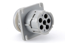 AHD10-6-12P-L 6-Position Receptacle, Male, Flange, Threaded Rear. Compatible to part # HD10-6-12P