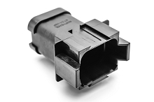 AT04-08PA-ECBLK  8-Way Receptacle, Black Male Connector with A Position Key and End Cap. Comparable to parts #DT04-08PA-E005, 934445211