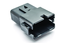 AT04-12PA-BLK 12-Way Receptacle, Male, A Position Key, Extended Shroud, Black. Compatible to part # DT04-12PA-E004