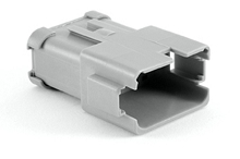 AT04-12PA-SS01 12-Way Receptacle, Male Connector with A Position Key and Extended Shroud and Solid Rear Grommet and Endcap. Compatible to part # DT04-12PA-C017