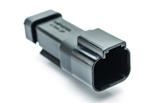 AT04-2P-MM01BLK  2-Way Receptacle, Male Connector with Reduced Diameter Seal (E-Seal) and End Cap, Black. Comparable to parts #DT04-2P-CE03, 934441101