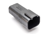 AT04-4P-RD01BLK 4-Way Receptacle, Male, Reduced Diameter Seal (E-Seal), Black. Compatible to part # DT04-4P-CE02