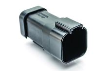 AT04-6P-MM01BLK  6-Way Receptacle, Male Connector with Reduced Diameter Seal (E-Seal) and End Cap, Black. Comparable to parts #DT04-6P-CE03, 934444101