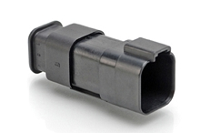 AT04-6P-SR01BLK 6-Way Receptacle Male Connector with Strain Relief and Endcap, Standard Seal