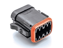 AT06-08SA-ECBLK  8-Way Plug, Black Female Connector with A Position Key and End Cap. Comparable to parts #DT06-08SA-E005, DT06-08SA-EP08, 934455211