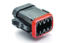 AT06-08SA-MMBLK  8-Way Plug, Female Connector with A Position Key, Reduced Diameter Seals (E-Seal) and End Cap, Black. Comparable to part #934455111
