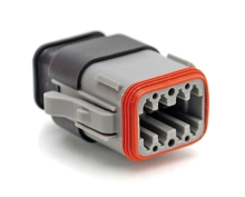 AT06-08SA-SR2GY 8-Way Plug Female Connector with Strain Relief Endcap, Reduced Seal, Position A