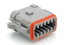 AT06-12SA-EC01  12-Way Plug, Female Connector with A Position Key and End Cap. Comparable to parts #DT06-12SA-E003, DT06-12SA-EP06, 934456212