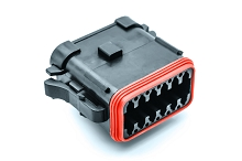 AT06-12SA-ECBLK  12-Way Plug, Black Female Connector with A Position Key and End Cap. Comparable to parts #DT06-12SA-E005, DT06-12SA-EP08, 934456211