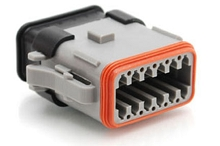 AT06-12SA-SRGRY 12-Way Plug Female Connector with Strain Relief Endcap, Standard Seal, Position A. Compatible to part # DT06-12SA-E008, DT06-12SA-EP20, 934456612