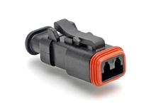 AT06-2S-SR02BLK  2-Way Plug Female Connector with Strain Relief Endcap, and Reduced Seal, Black. Comparable to part #934451501