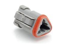 AT06-3S-EC01  3-Way Plug, Female Connector with End Cap, Grey. Comparable to parts #DT06-3S-E003, 934452202