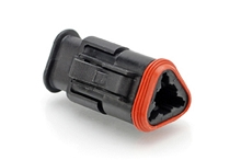 AT06-3S-SR02BLK, 3-Way Plug Female Connector with Stain Relief and and Endcap, Reduced Seal