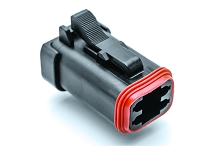 AT06-4S-EC01BLK, 4-Way Plug, Female, End Cap, Black. Compatible to part # DT06-4S-E005