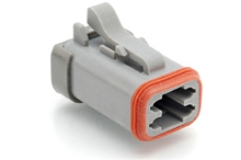 AT06-4S-MM01  4-Way Plug, Female Connector with Reduced Diameter Seal (E-Seal) and End Cap, Grey. Comparable to parts #DT06-4S-CE01, DT06-4S-CE05, 934453102