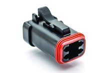 AT06-4S-MM01BLK  4-Way Plug, Female Connector with Reduced Diameter Seal (E-Seal) and End Cap, Black. Comparable to parts #DT06-4S-CE03, 934453101