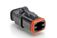 AT06-4S-SR02BLK  4-Way Plug, Female Connector with Reduced Diameter Seal (E-Seal), Endcap, and Strain Relief, Black. Comparable to part #934453501