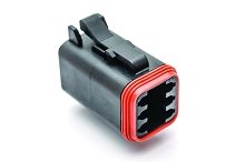 AT06-6S-BLK, 6-Way Plug, Female, Black. Compatible to part # DT06-6S-E004