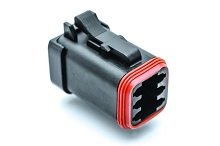 AT06-6S-EC01BLK, 6-Way Plug, Female, End Cap, Black. Compatible to part # DT06-6S-E005