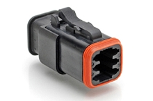 AT06-6S-SR01BLK 6-Way Plug Female Connector with Strain Relief and Endcap, Standard Seal