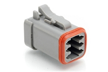 AT06-6S-SS01 6-Way Plug, Female Connector with Solid Rear Grommet and Endcap, Wedgelock included. Compatible to part # DT06-6S-C017