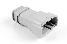 ATM04-08PA-SR1GY 8-Way Receptacle, Male, A Position Key with Strain Relief