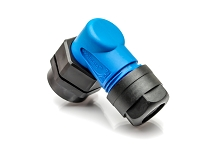 C016G09042G10X Right-angled back shell with clamping ring, blue
