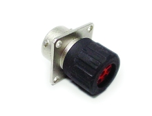 RT0W01210SNHEC Square Flange Receptacle, Female, with O-ring Seal and End Cap with Individual Rear Wire Seal, 10 Contacts, Size 20, 20-30AWG, 5A/150V, Shell Size 12