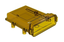 AIPXE-5X650A-E016  Ultem AIPX LARGE  Enclosure with Vent Hole, Amber