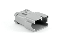 AT04-12PA-EC01  12-Way Receptacle, Male Connector with A Position Key and Extended Shroud and End Cap. Comparable to parts #DT04-12PA-BE02, DT04-12PA-E003, 934446212