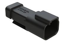 AT04-2P-EC01BLK  2-Way Receptacle, Black Male Connector with End Cap, Black. Comparable to parts #DT04-2P-E005, 934441201