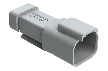 AT04-2P-MM01  2-Way Receptacle, Male Connector with Reduced Diameter Seal (E-Seal) and End Cap, Grey. Comparable to parts #DT04-2P-CE01, 934441102