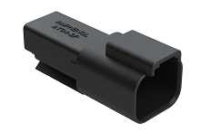 AT04-2P-RD01BLK 2-Way Receptacle, Male, Reduced Diameter Seal (E-Seal), Black. Compatible to part # DT04-2P-CE02