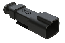 AT04-2P-SR02BLK  2-Way Receptacle Male Connector with .053-.120 Reduced Seal, Black. Comparable to parts #DT04-2P-CE09  #934441501