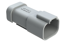 AT04-4P-MM01  4-Way Receptacle, Male Connector with Reduced Diameter Seal (E-Seal) and End Cap, Grey. Comparable to parts #DT04-4P-CE01, 934443102