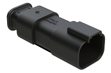 AT04-4P-SR01BLK  4-Way Receptacle Male Connector with Strain Relief Endcap, Standard Seal, Black. Comparable to part #934443601