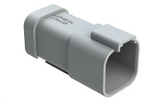 AT04-6P-MM01  6-Way Receptacle, Male Connector with Reduced Diameter Seal (E-Seal) and End Cap, Grey. Comparable to parts #DT04-6P-CE01, 934444102
