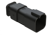 AT04-6P-SR01BLK  6-Way Receptacle Male Connector with Strain Relief Endcap, Standard Seal, Black. Comparable to part #934444601
