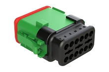 AT06-12SC-SRGN  12-Way Plug Female Connector with Strain Relief Endcap, Standard Seal, C Position Key, Green. Comparable to part #934456633