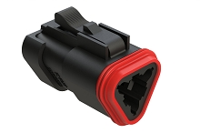 AT06-3S-EC01BLK  3-Way Plug, Female Connector with End Cap, Black. Comparable to parts #DT06-3S-E005, DT06-3S-EP06, 934452201