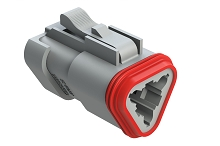 AT06-3S-EC01  3-Way Plug, Female Connector with End Cap, Grey. Comparable to parts #DT06-3S-E003, DT06-3S-EP06, 934452202