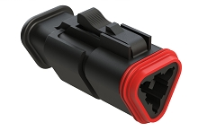 AT06-3S-SR01BLK  3-Way Plug Female Connector with Strain Relief Endcap with Standard Seal, Black. Comparable to part #934452601