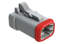 AT06-4S-EC01  4-Way Plug, Female Connector with End Cap, Grey. Comparable to parts #DT06-4S-E003, DT06-4S-EP06934453202