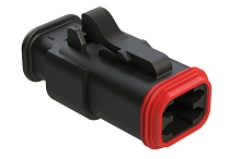 AT06-4S-SR01BLK  4-Way Plug Female Connector with Strain Relief Endcap, Standard Seal, Black. Comparable to parts #DT06-4S-EP11, 934453601