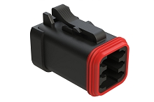 AT06-6S-EC01BLK  6-Way Plug, Female Connector with End Cap, Black. Comparable to parts #DT06-6S-E005, DT06-6S-EP06, 934454201